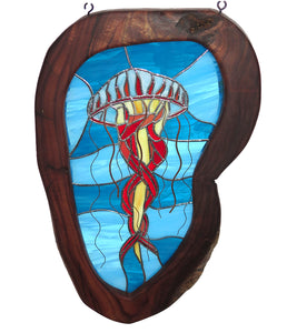 "Stained Glass with Koa ""3D Jellyfish """