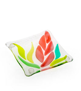 "Pink Ginger Glass Coaster 3""x3"""