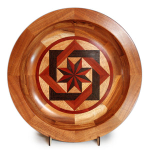 "Segmented Koa Platter ""Interlace"" 20"" by Mark and Karen Stebbins"