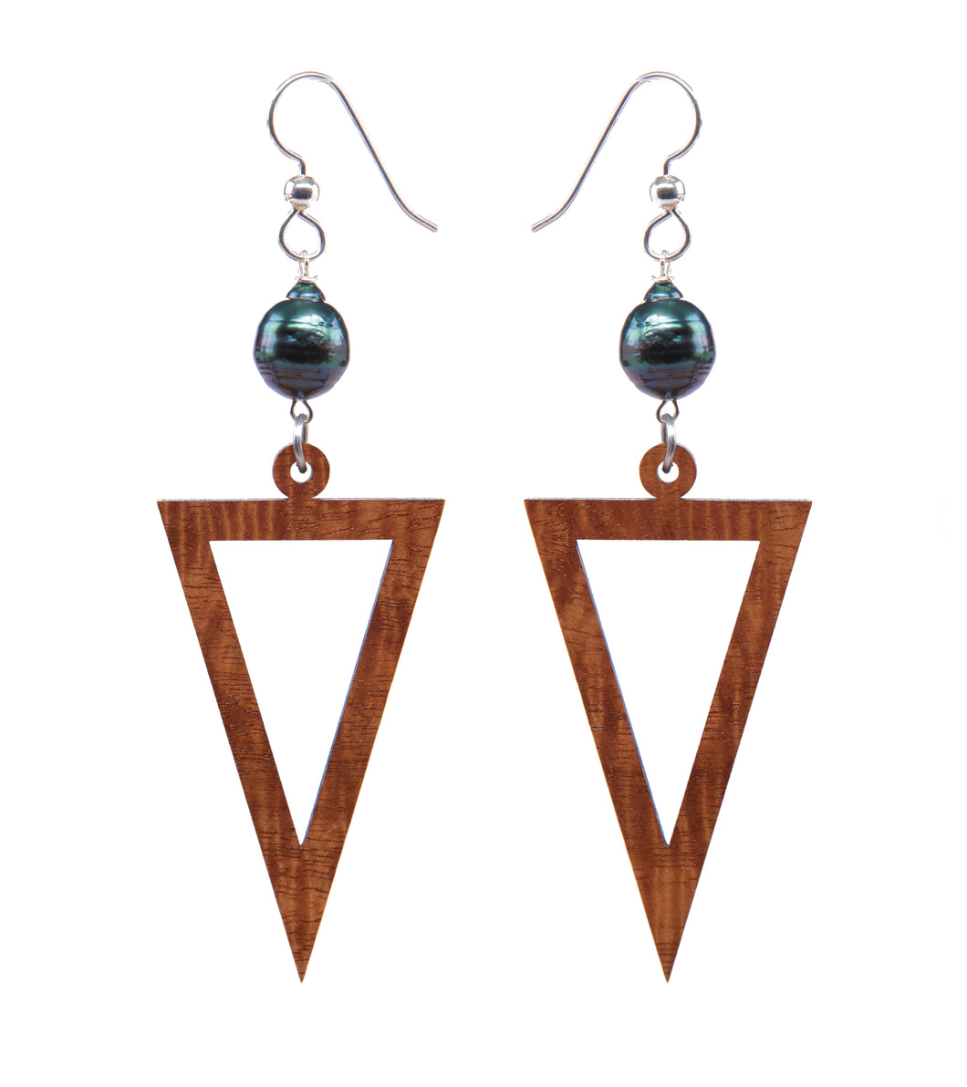 Koa Triangle Pearl Silver Earrings