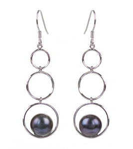 3 Ringlet Pearl Earrings