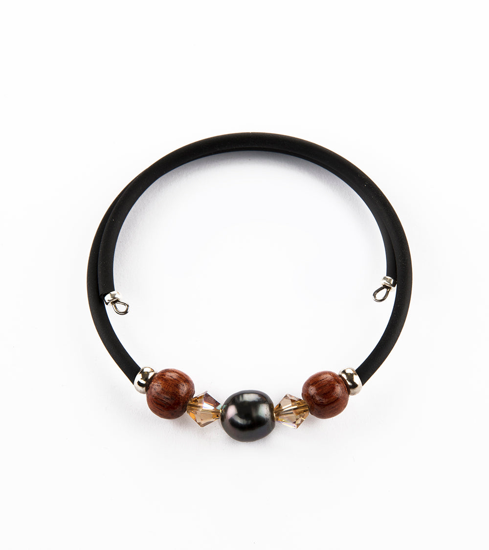 Tahitian Pearl Smokey Topaz Black Adjustable Bracelet