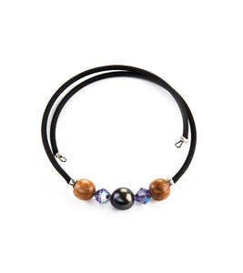 Tahitian Pearl Lavender Black Adjustable Bracelet