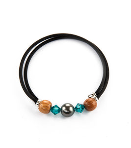 Tahitian Pearl Blue Zircon Black Adjustable Bracelet