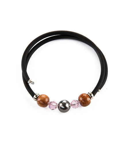 Tahitian Pearl Light Rose Black Adjustable Bracelet