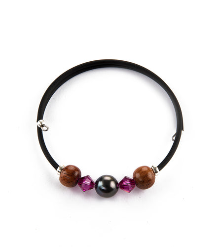 Tahitian Pearl Fuchsia Black Adjustable Bracelet