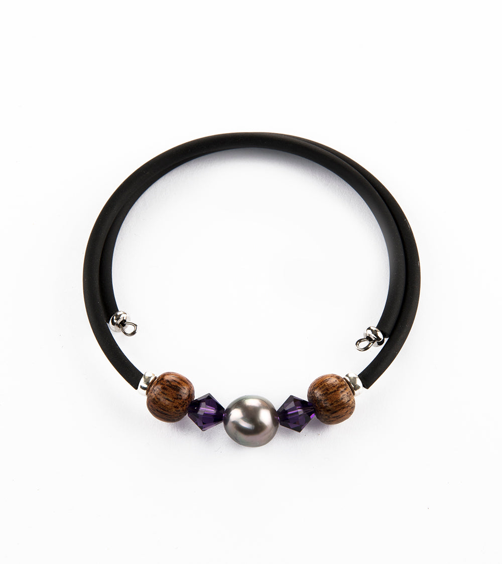 Tahitian Pearl Purple Black Adjustable Bracelet
