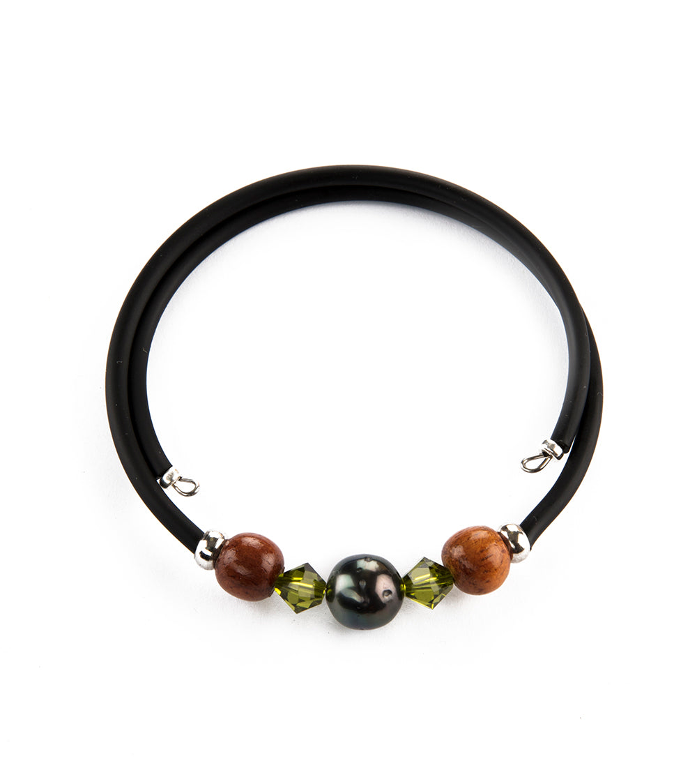 Tahitian Pearl Light Olivine Black Adjustable Bracelet