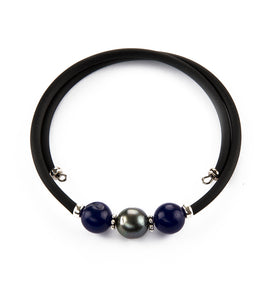 Tahitian Pearl Lapis Black Adjustable Bracelet