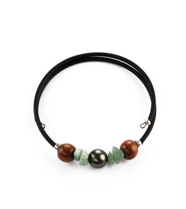 Tahitian Pearl Chip Jade Black Adjustable Bracelet