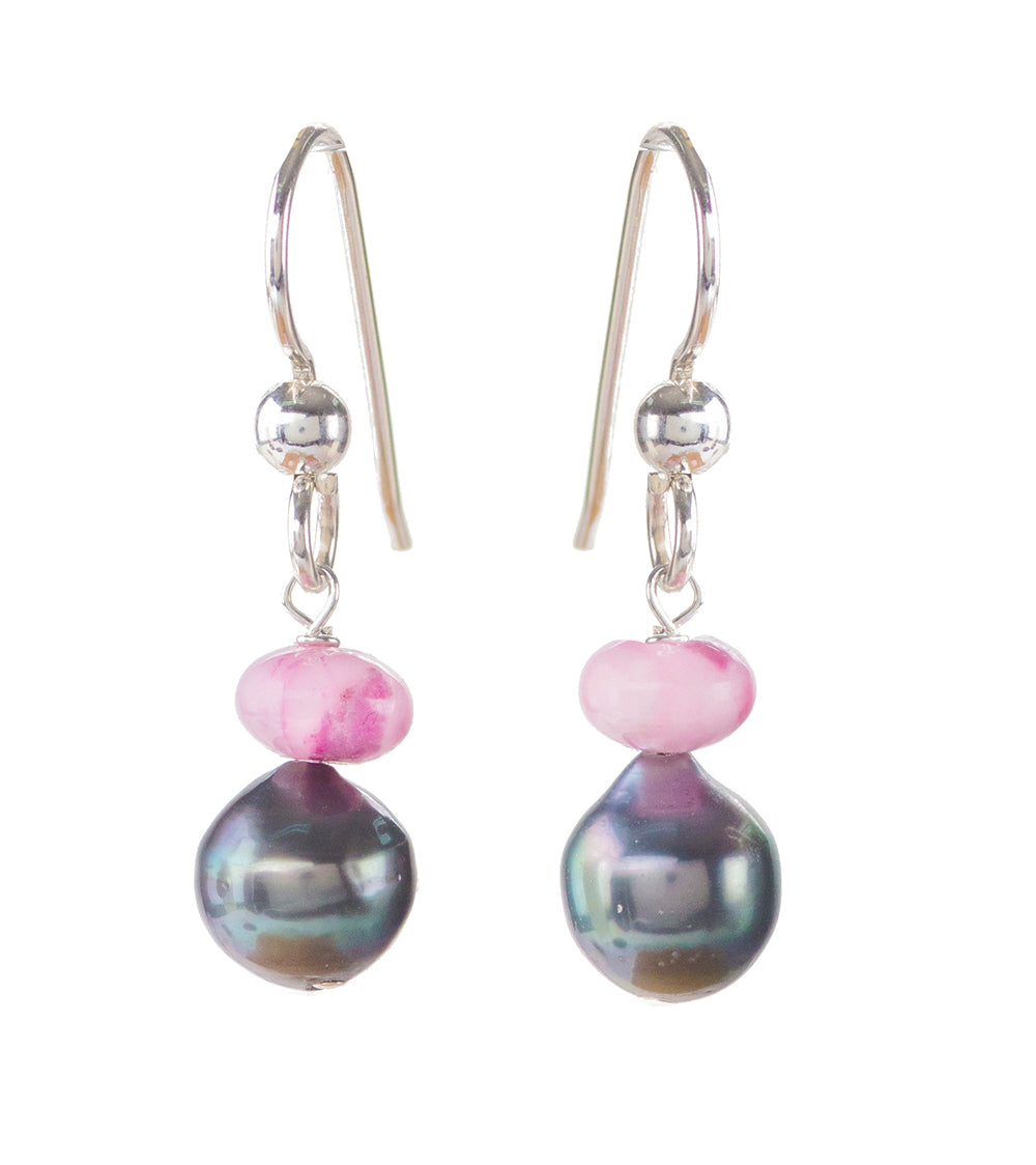 Tahitian Pearl Pink Crazy Lace Earrings