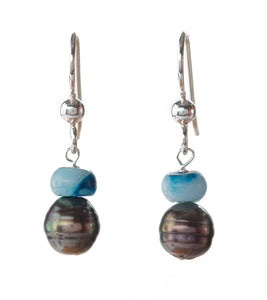 Tahitian Pearl Blue Crazy Lace Earrings