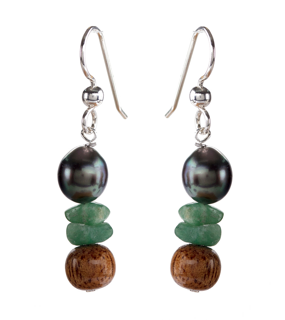 Tahitian Pearl Chip Jade Earrings