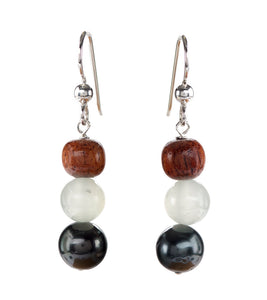 Tahitian Pearl Burmese Jade Earrings