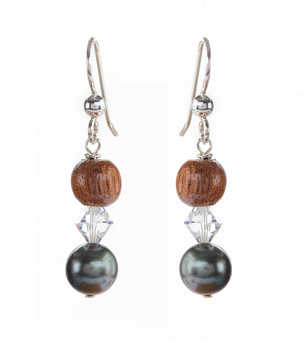 Tahitian Pearl Crystal Earrings