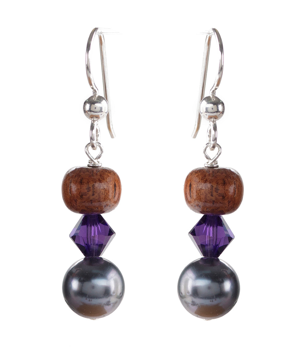 Tahitian Pearl Purple Velvet Earrings