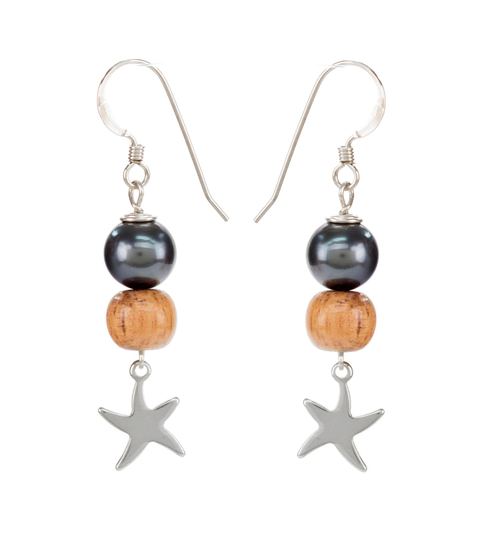 Tahitian Pearl Koa Light Starfish Earrings