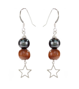 Tahitian Pearl Koa Star Earrings