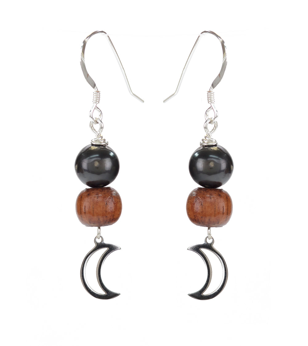 Tahitian Pearl Koa Moon Earrings