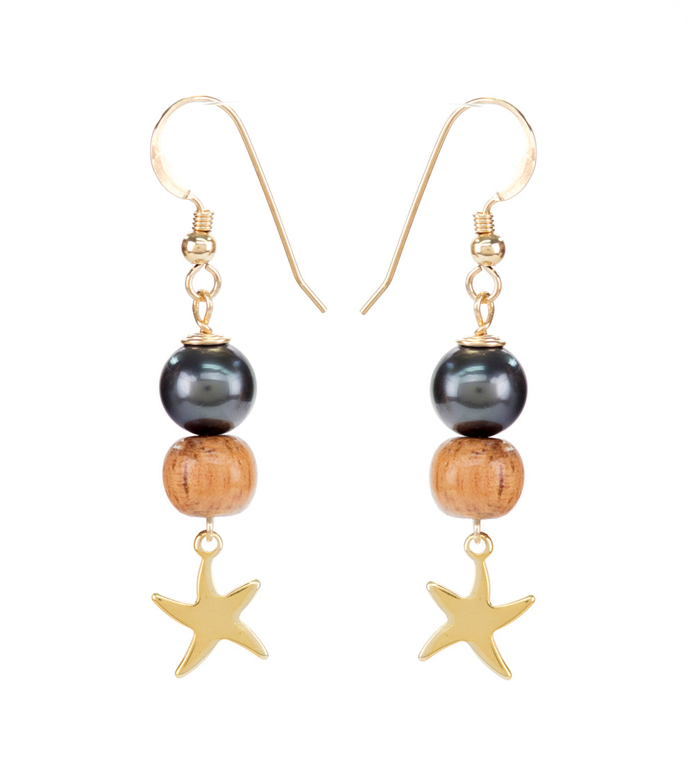 Tahitian Pearl Koa Gold Starfish Earrings