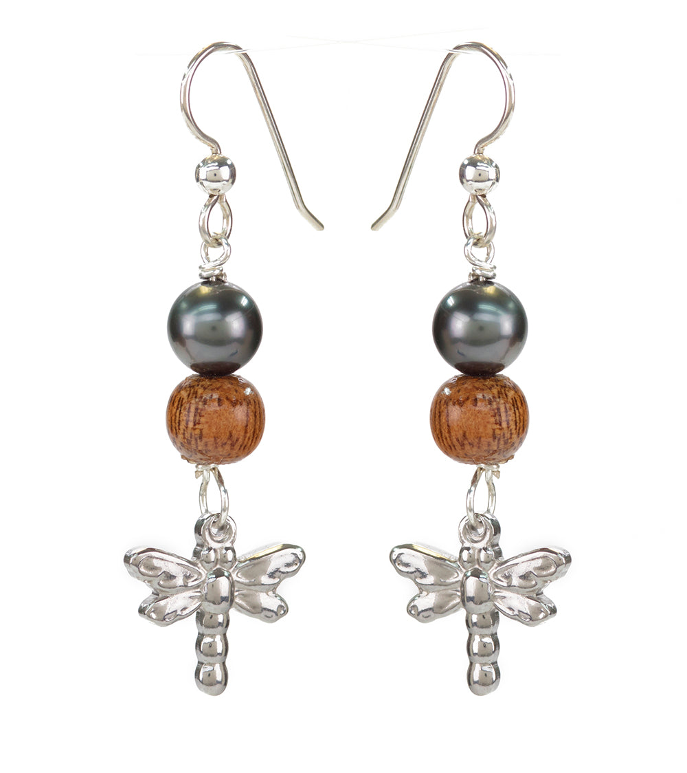 Tahitian Pearl Koa Dragonfly Earrings