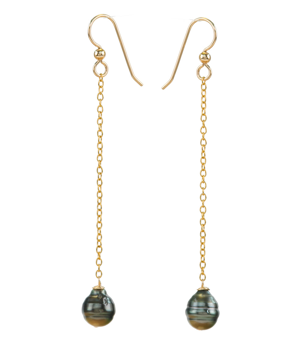 Peaked Chain Gold Pearl Earrings