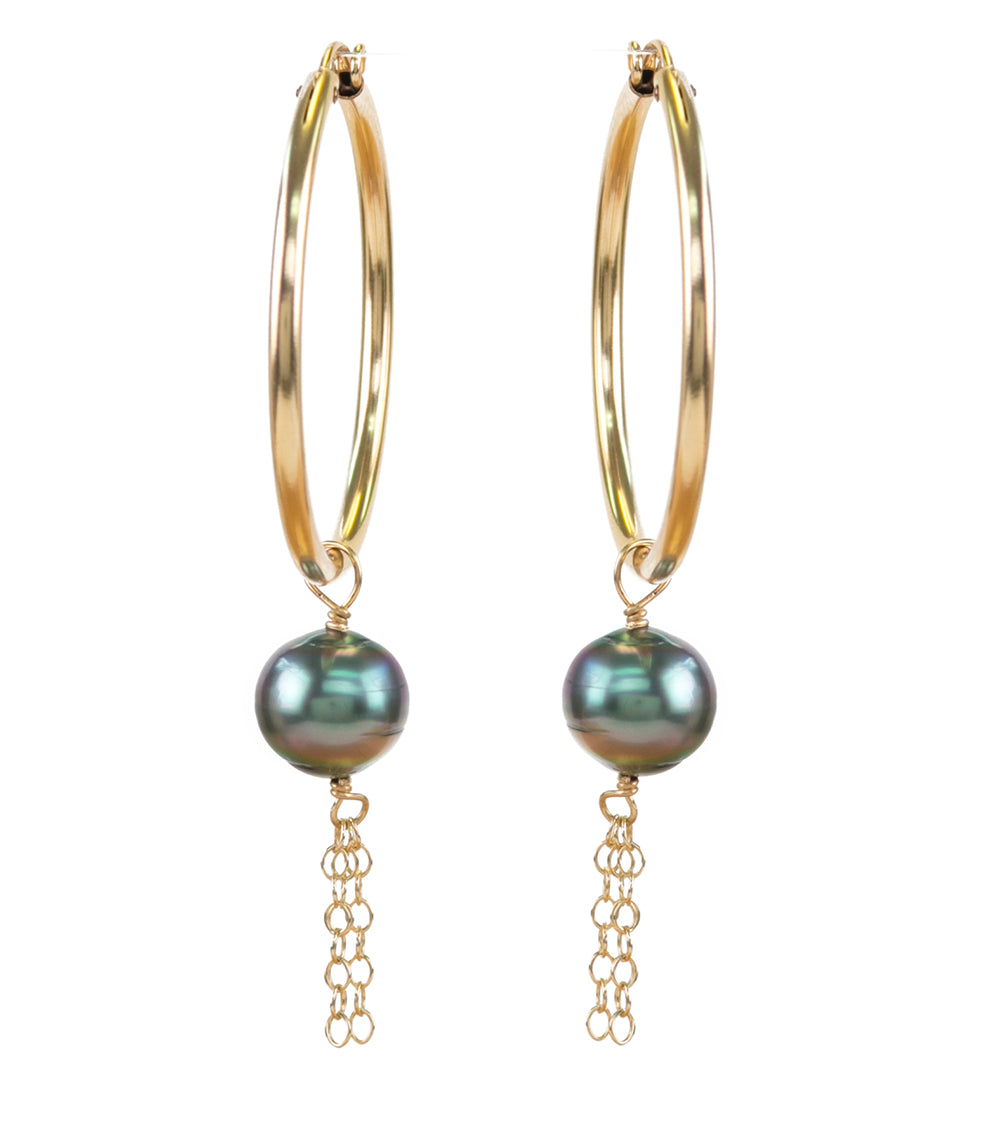 Creole Chain Pearl Gold Earrings
