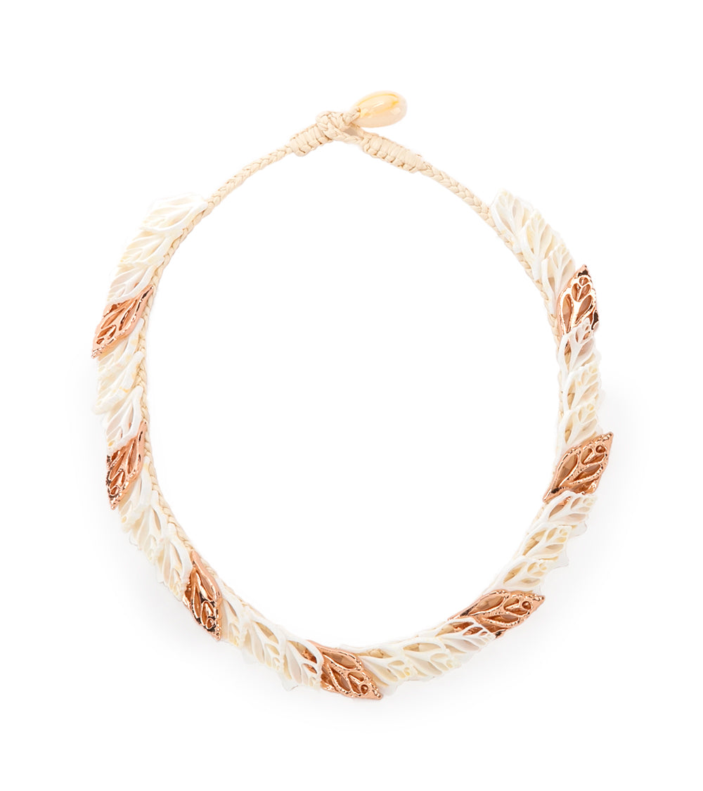 Single Layer with Rose Gold Leaf Necklace - 53466