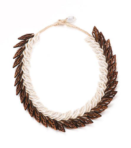 Double Layer Shells with Koa Necklace - 53480