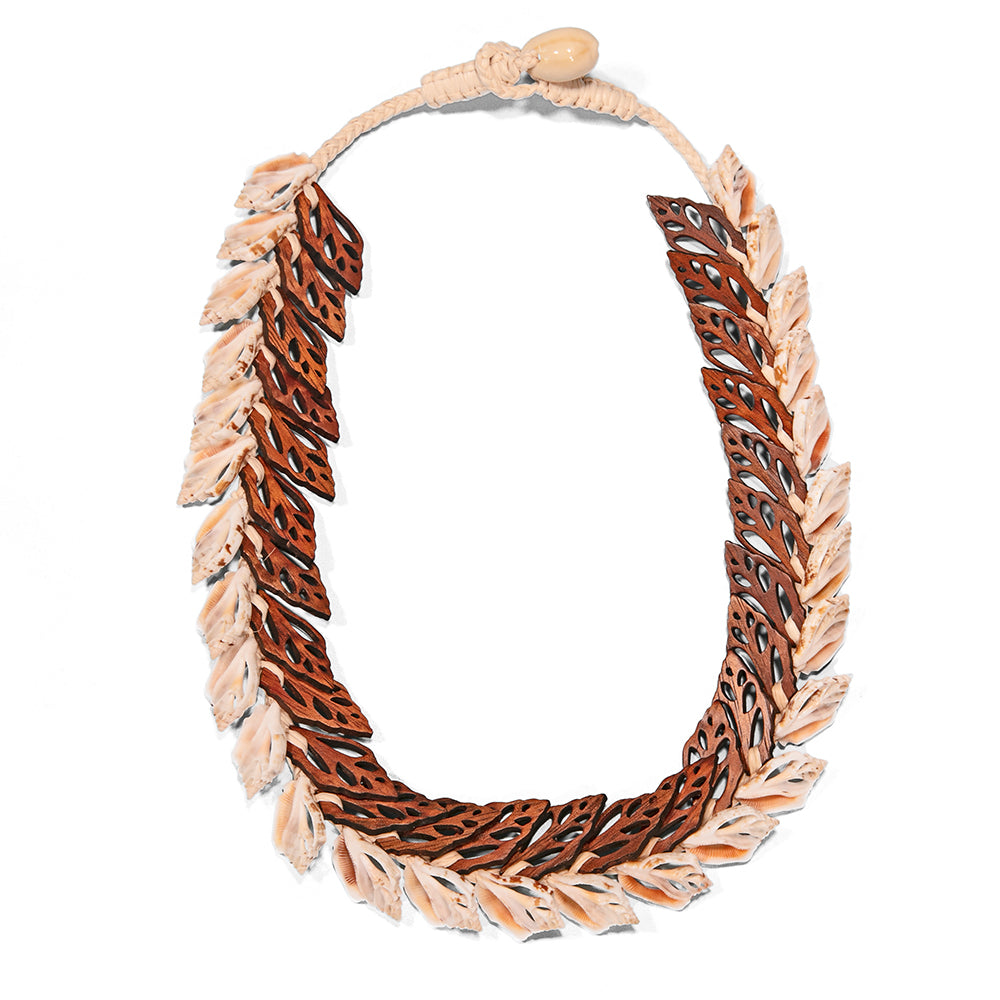 Double Layer Shells with Koa Necklace - 53554