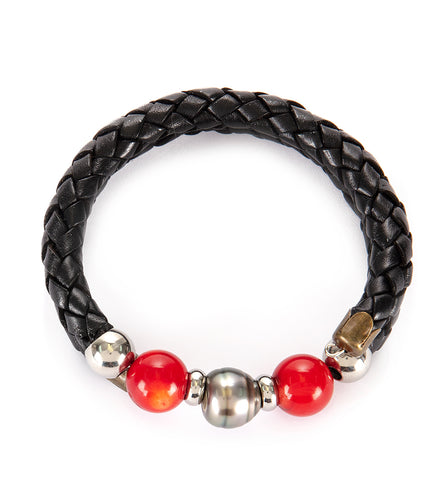 Tahitian Pearl Red Coral Black Adjustable Braided Bracelet