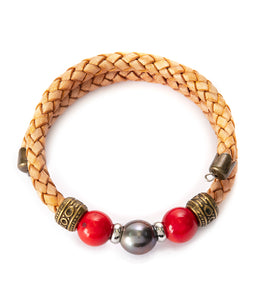 Tahitian Pearl Red Coral Light Brown Adjustable Braided Bracelet