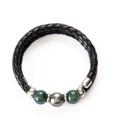 Tahitian Pearl Moss Jade Black Adjustable Braided Bracelet