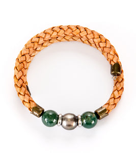 Tahitian Pearl Moss Jade Light Brown Adjustable Braided Bracelet