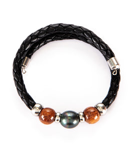 Tahitian Pearl Koa Black Adjustable Braided Bracelet