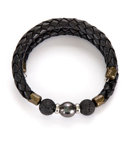 Tahitian Pearl Lava Rock Black Adjustable Braided Bracelet