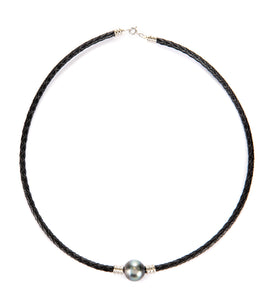 Tahitian Pearl Black Braided Leather Necklace