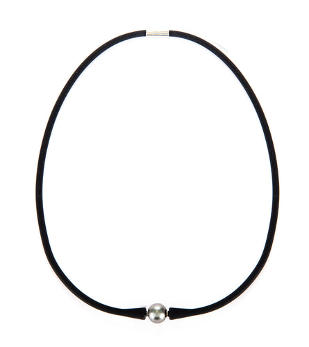 Tahitian Pearl Black Rubber Necklace