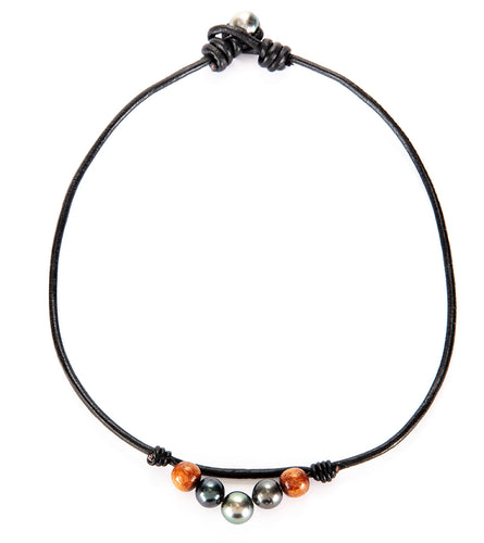 Tahitian Pearl Koa Black Leather Necklace