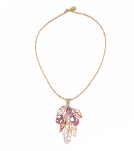 Grape, Niau, Sliced Shells Rose Gold Necklace - 53719