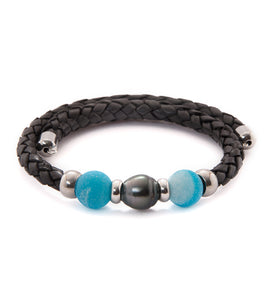 Tahitian Pearl Koa Sea Glass Adjustable Braided Bracelet