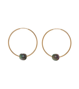 Pearl Gold Hoop Earrings 54317