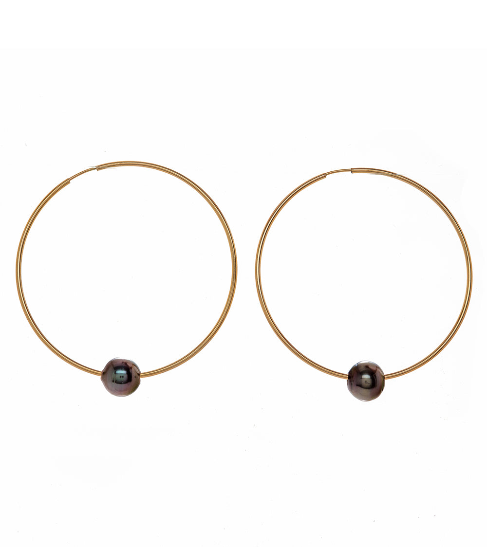 Pearl Gold Hoop Earrings 54318