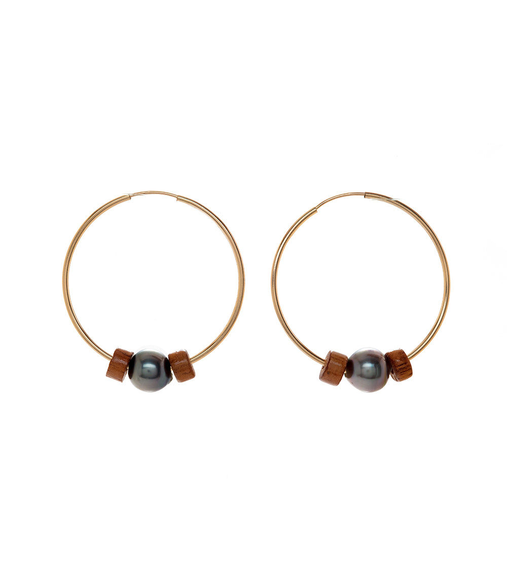Hoop Pearl Koa Earrings 54321