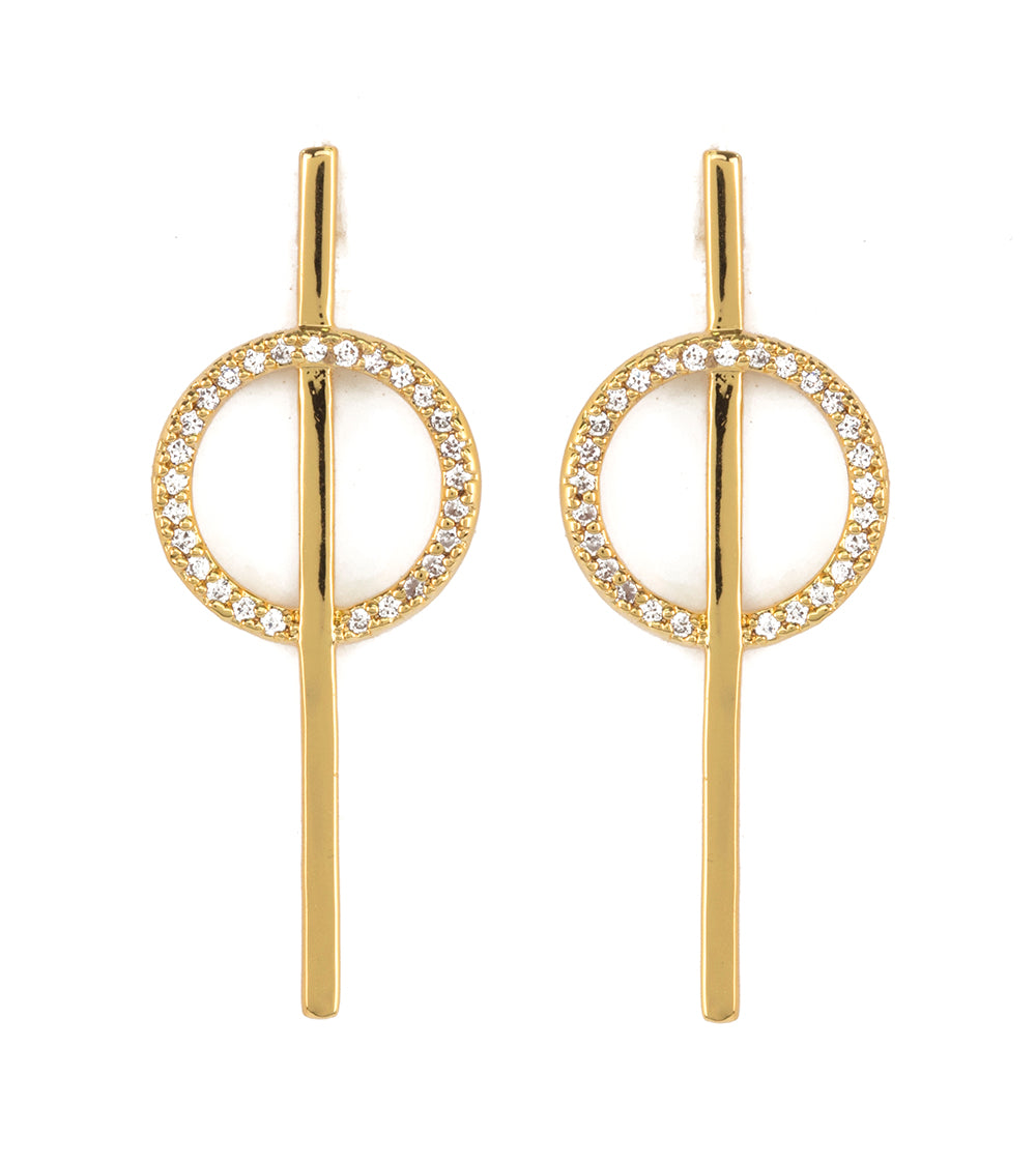 Gold Circle with Line Earrings