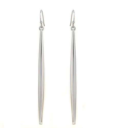 Rhodium Spear Fishhook Earrings