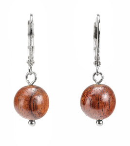 Koa Rhodium 10mm Koa Bead Earrings