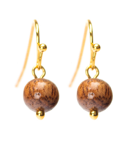 Koa Gold 8mm Bead Earrings