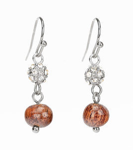 Koa Rhodium Koa Bead Pave Earrings