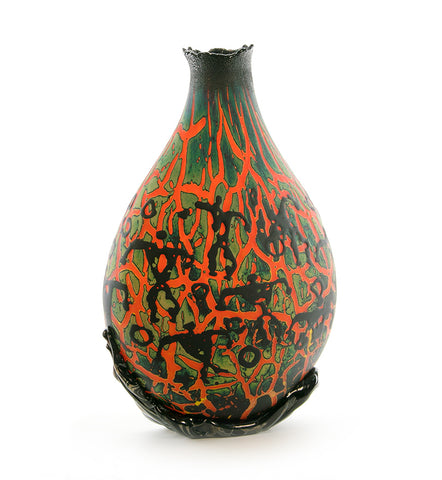 Glass Crackled w/ Petroglyphs Sculpture